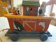 Heritage Toys And Collectibles - Handmade Noah's Ark Wooden Pull Toy Music Box