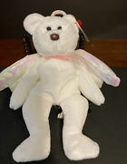 Rare Ty Beanie Baby Retired Brown Nose Halo Angel Bear 1998 Iridescent Wings