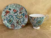 Shelley Green Baileyand039s Paisley Chintz 14272 Ripon Shaped Footed Cup And Saucer