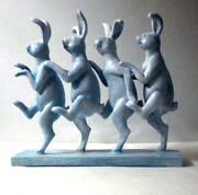 4 Whimsical Carved Cast Resin Rabbits Signed Vintage Country Farm Sculpture