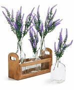 Wooden Caddy With 4 Glass Bottles And Flowers Home Dandeacutecor Fiddle + Fern