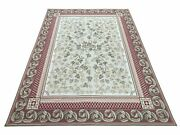 Traditional Aubusson Needlepoint Rug 9 X 12 Flowers Wool Carpet Hand-knotted New
