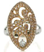 Large .80ct White And Pink Diamond 18k White And Rose Gold Filigree Floral Leaf Ring