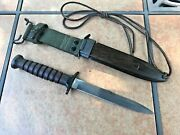 U.s. M3 Type Leather Fighting Knife With Woodgrain Scabbard