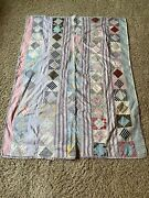 Antique Baby Quilt 1920's  3 Pieced Shirting Backing Square In A Square