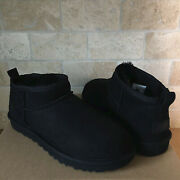 Ugg Classic Ultra Mini Black Water-resistant Suede Ankle Boots Size Us 11 Women