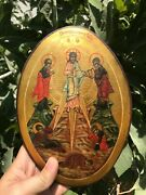 Rare Antique 20chand Painted Russian Orthodox Icon Of The Transfiguration Oval
