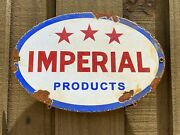 Vintage Imperial Products Porcelain Metal Sign Gas Oil Industrial Farm Truck Rig