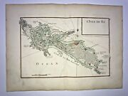 Re Island France 1746 Georges-louis Le Rouge Antique Engraved Map 18th Century