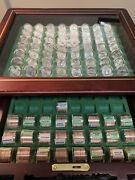 Danbury Mint America The Beautiful Carved Wood Locking Display Case. With Coins