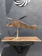 Mid 20th C. Scratch Built Metal Model Of A Helicopter Decorative Antique Folkart