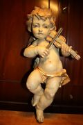 Antique 21 Wooden Hand Carved Flying Angel Cherub Putto With Violin Wall Statue