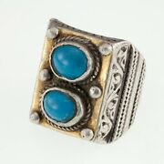 Silver And Brass Afghan Vintage Turquoise Cabochon Ring Size 10.5