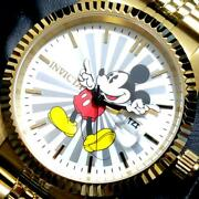 X Disney 22770 Menand039s Watch Mickey Mouse Gold Unused From Japan