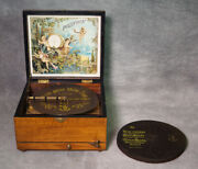 Great Sounding Antique Polyphon Disc Music Box 21 Cm. Including Christmas Music
