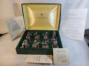 1977 Antiqued Silver⭐ First Franklin Mint ⭐animals At Play Napkin Ring Set