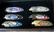 Franklin Mint 6 Harley Davidson Motorcycle Collectors Knives With Display Case