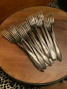 Silver Plate Forks Antique Flatware Monogram W Rogers Community Mixed Lot 14 Pc