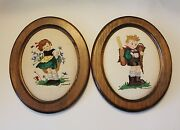 Vtg Hummel Needlepoint Tapestry Girl And Boy Wooden Wall Hanging
