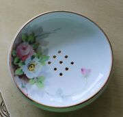Hand Painted Floral Nippon Fruit Strainer Footed Bowl