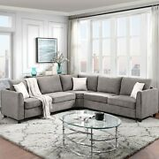 L Shape Couch Sectional Sofa Couch For Home Use Fabric Grey 3 Pillows Included