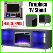 Fireplace Tv Stand For Tvs Up To 70 Inch With 6 Open Shelves Graphite Gray