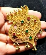 Vintage 1850s Mughal Pure 22k Solid Gold Bow Arrow Emerald Amulet Bell Pendant