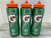 Gatorade Squeeze Sports Water Bottle Soccer Champions League 32 Oz Lot Of 3
