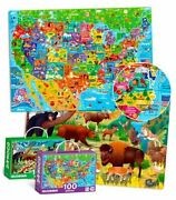 100 Pieces Floor Puzzles For Kids Ages 3-5 – 2 Jigsaw Usa Map And National Park