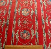 Antique French Resist Dyed And Hand Painted Turkey Red Fabricl-42 X W-33