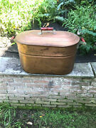Antique Copper Wash Tub Boiler Canning Kettle Pot With Wood Handles And Lid Nice