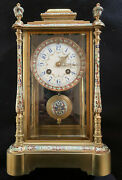 Antique French Japy Freres Champleve Enamel Mantel Clock