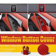 Red Window Lift Button Door Local Cover Trim For Nissan Gtr R35 2008-2016 6pcs