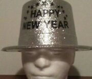 Set Of 3 Happy New Year's Party Glitter Metallic Top Hats. One Size