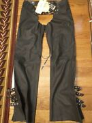 Icon Womenand039s Leather Moto Chaps. Color Mat Black Nwt