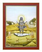 Angry Kali Standing On The Chest Lord Shiva Handmade Miniature Painting