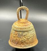 Ancient Near Easter Roman Byzantine Antiquities Old Bronze Bell Engraved Figures