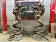 China Folk Old Copper Cloisonne Enamel Two Dragon Dragons Play Bead Statue Pair