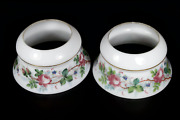 Pair Antique 19th Century Victorian Milk Glass And Painted Roses Oil Lamp Shade S