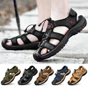 Menand039s Fisherman Sandals Faux Leather Summer Outdoor Hollow Out Water Shoes Flat