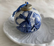 Holland Windmill Dutch Theme House Christmas Tree Ball Delft Numbered Ornament