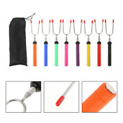 8pcs Rotated Colored Extendable Skewers Barbecue Forks For Bbq Outdoor Camping