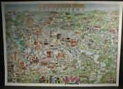 Vintage 1992 Rochester Ny Map Poster Art Print Tom Dodds Perfect For Framing