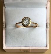 Vintage Gold 583 Head With Stone Rhinestone Womenand039s Jewelry Cute Ring 1.9 Gr