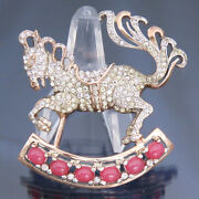 Book Piece Reja Sterling Rocking Horse Brooch Glass Ruby Cabochons Pave Rs