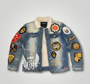 Reason New York City Patched Sherpa Lined Denim Trucker Jacket Men's Size Small