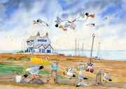 Fun In Whitstable A Ready To Frame Print From A Watercolour By David Bailey