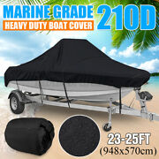 23 Ft - 25 Ft Waterproof Boat Cover Marine Grade For V-hull Center Console Boats