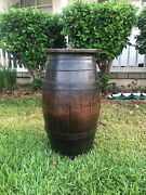 Vintage English Wooden Barrel With Metal Straps And Top Cover 25 Tall