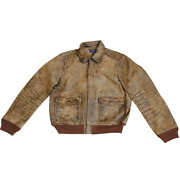Prl Distressed Leather Flight Bomber Jacket 998 Free Worldwide Shipping